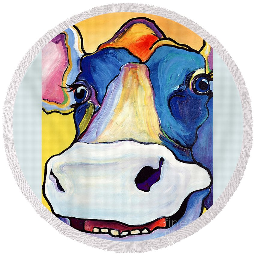 Cow Print Round Beach Towel featuring the painting Dairy Queen I  by Pat Saunders-White