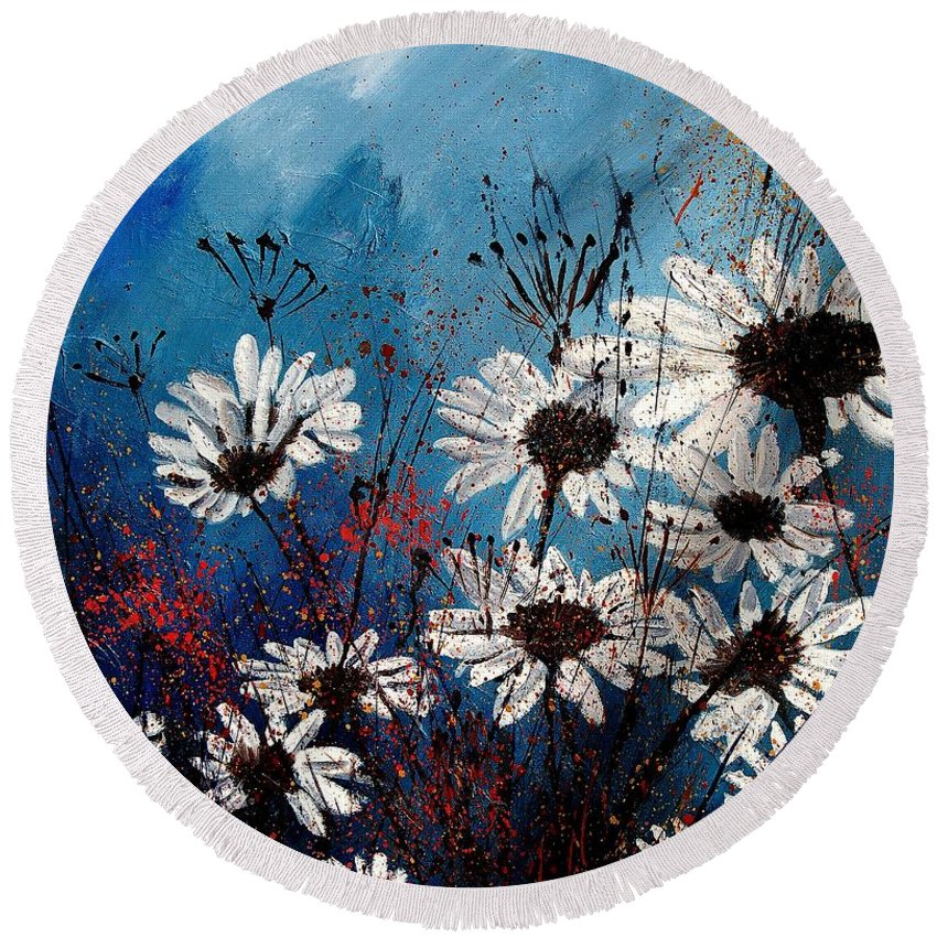 Flowers Round Beach Towel featuring the painting Daisies 59060 by Pol Ledent
