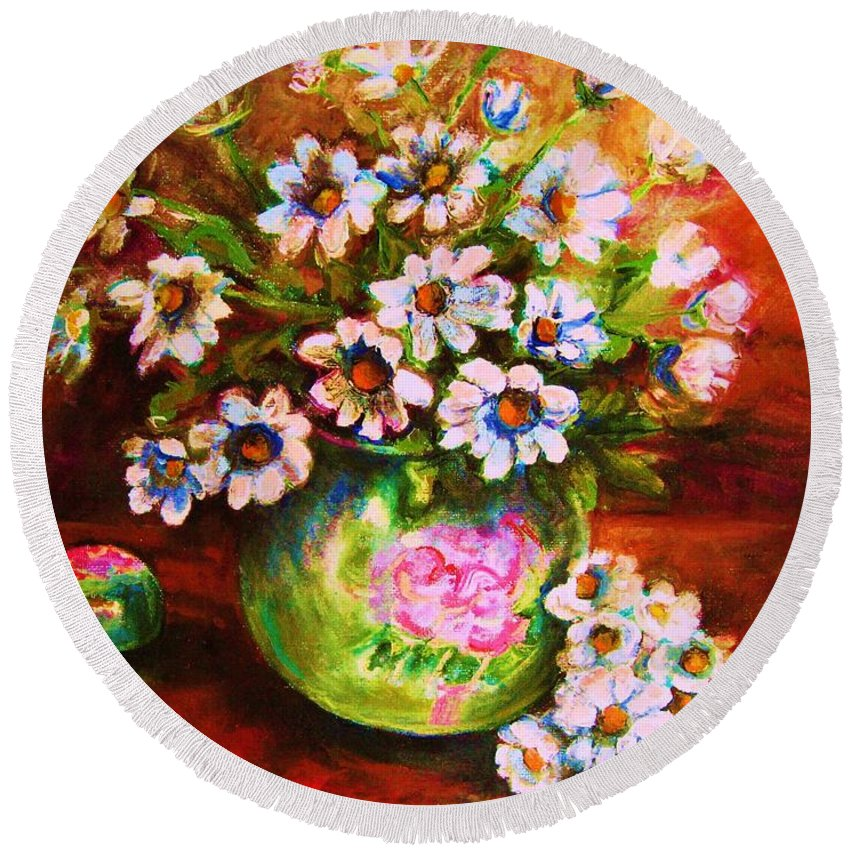 Daisies Round Beach Towel featuring the painting Daisies And Ginger Jar by Carole Spandau