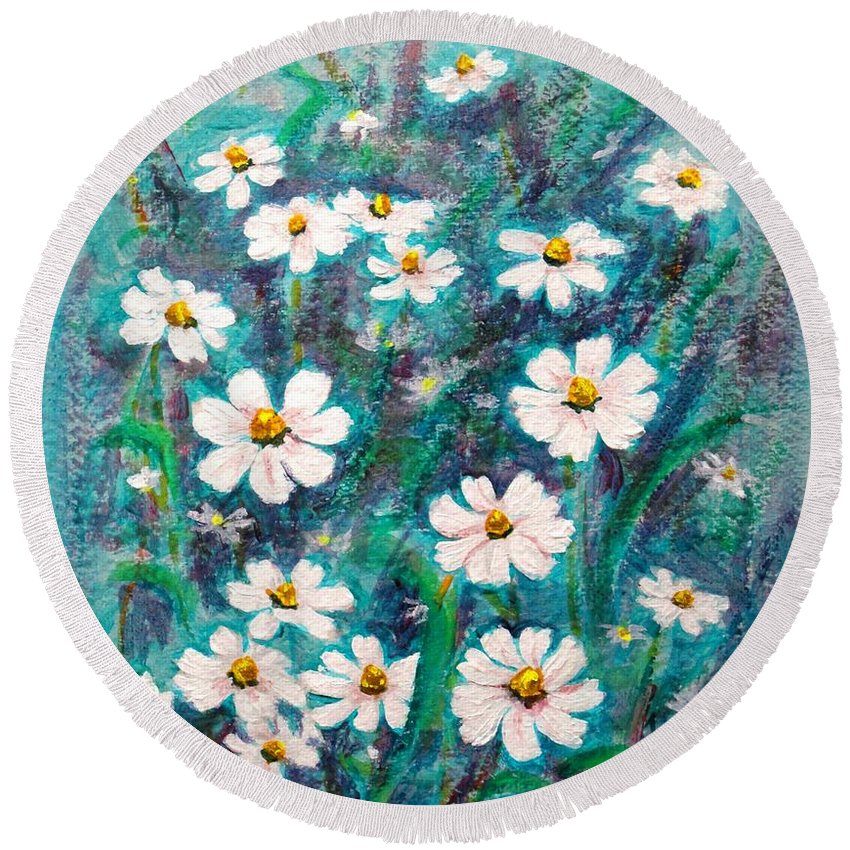 Gold Round Beach Towel featuring the painting Daisies Golden Eyed by Usha Shantharam