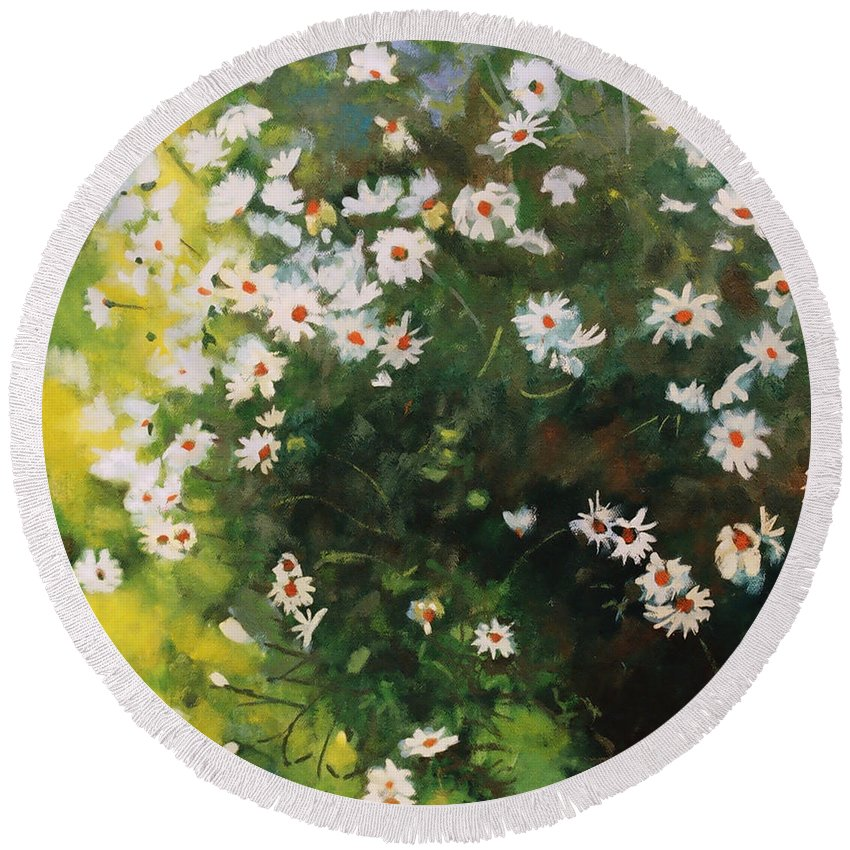 Daisies Round Beach Towel featuring the painting Daisies by Iliyan Bozhanov