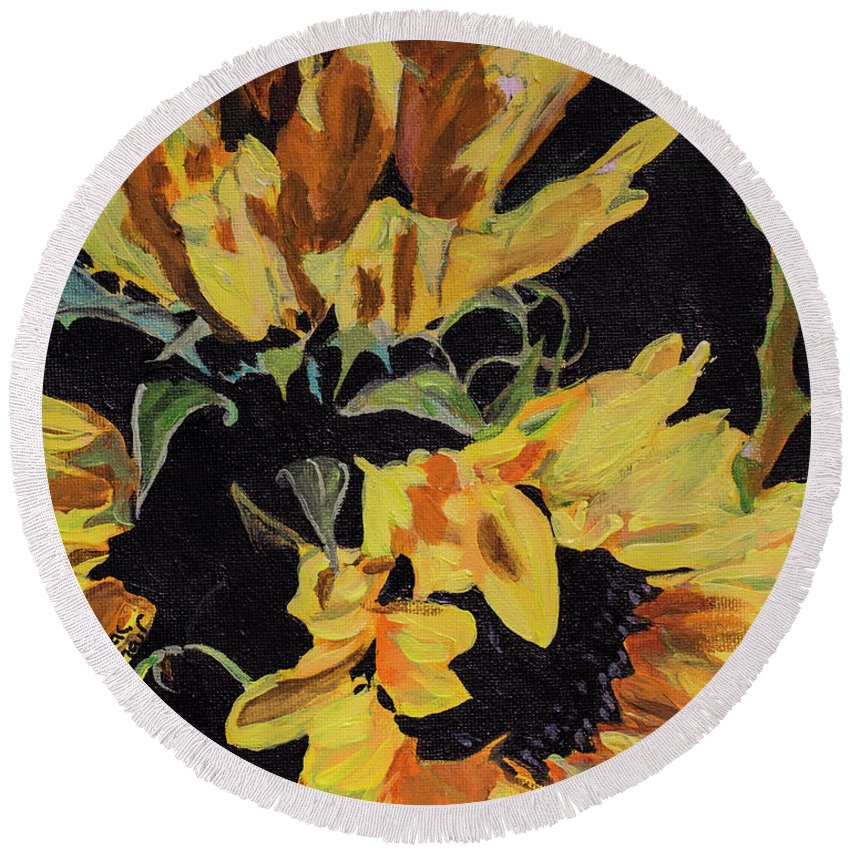 Acrylic Round Beach Towel featuring the painting Daisies by Jackie MacNair
