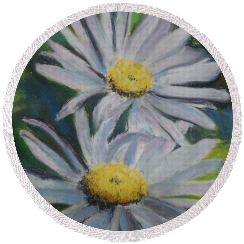Daisies Round Beach Towel featuring the painting Daisies by Melinda Etzold
