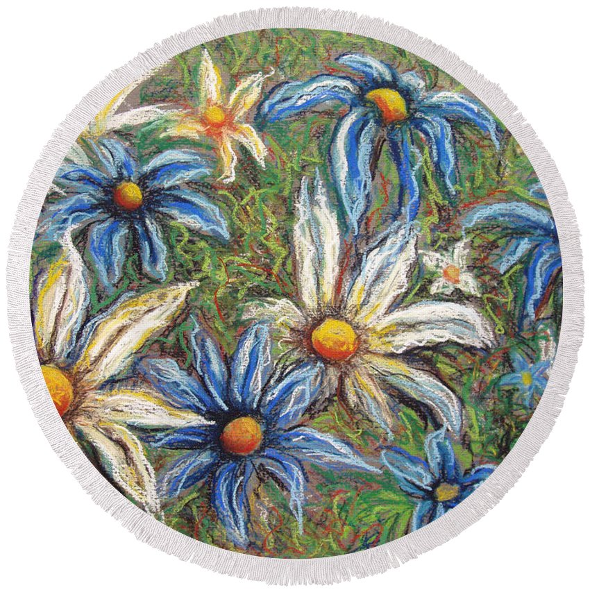 Daisies Round Beach Towel featuring the pastel Daisies Pastel by Nancy Mueller