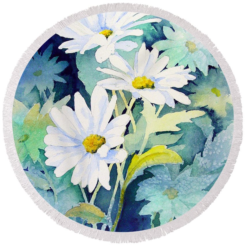 Flowers Round Beach Towel featuring the painting Daisies by Sam Sidders
