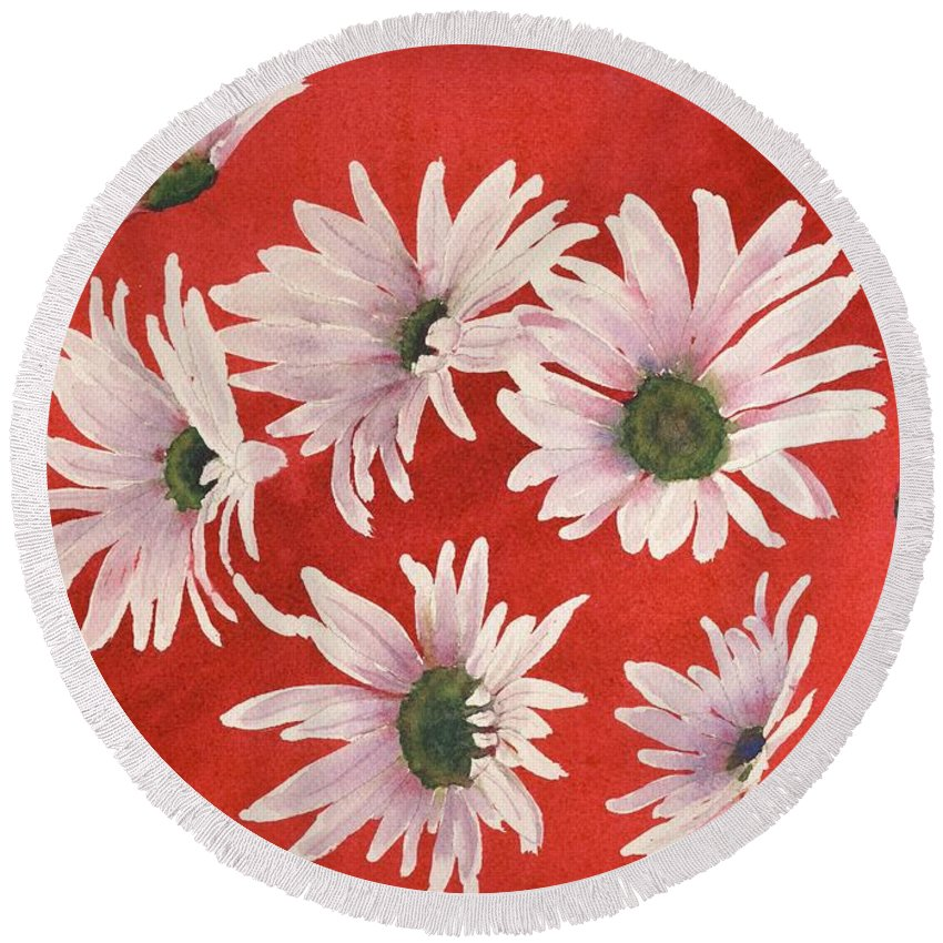 Flowers Round Beach Towel featuring the painting Daisy Chain by Ruth Kamenev
