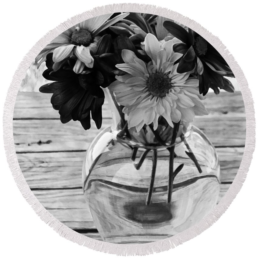 Daisy Round Beach Towel featuring the photograph Daisy Crazy Bw by Angelina Vick