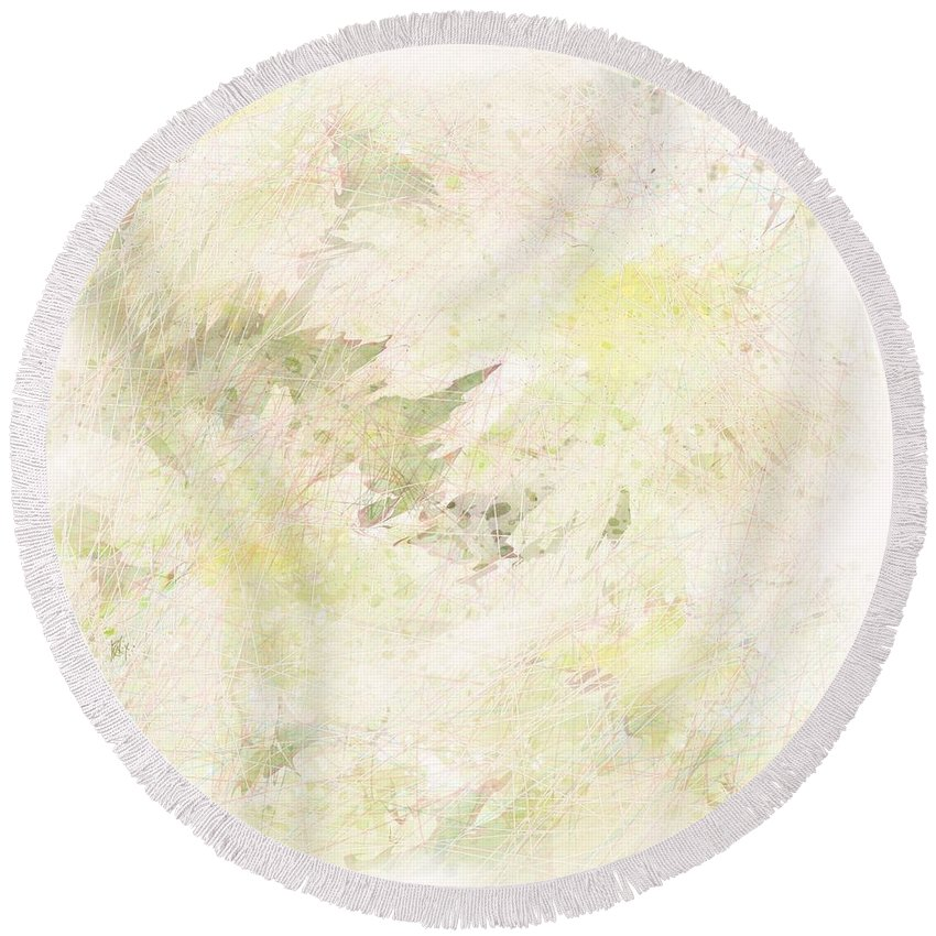 Abstract Round Beach Towel featuring the digital art Daisy Dreams by Rachel Christine Nowicki