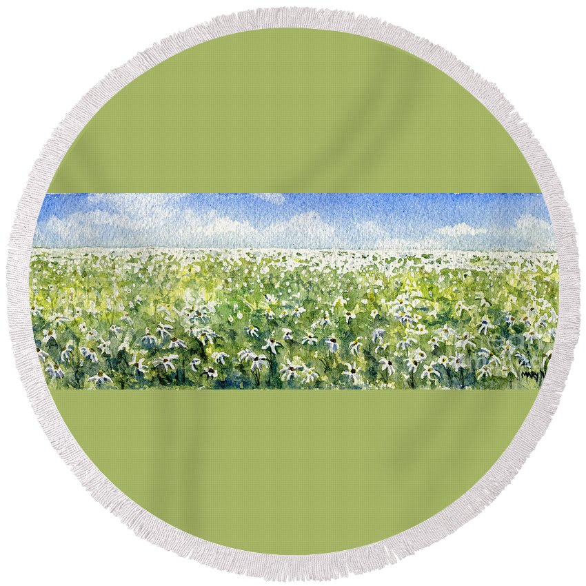 Nature Round Beach Towel featuring the painting Daisy Field by Mary Tuomi