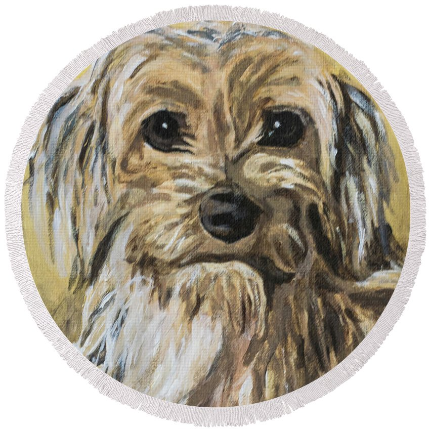 Dog Round Beach Towel featuring the painting Daisy by Jackie MacNair