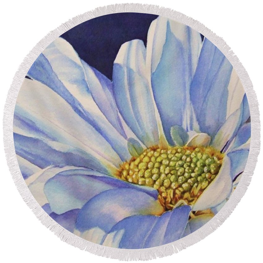 Daisy Round Beach Towel featuring the painting Daisy by Greg and Linda Halom