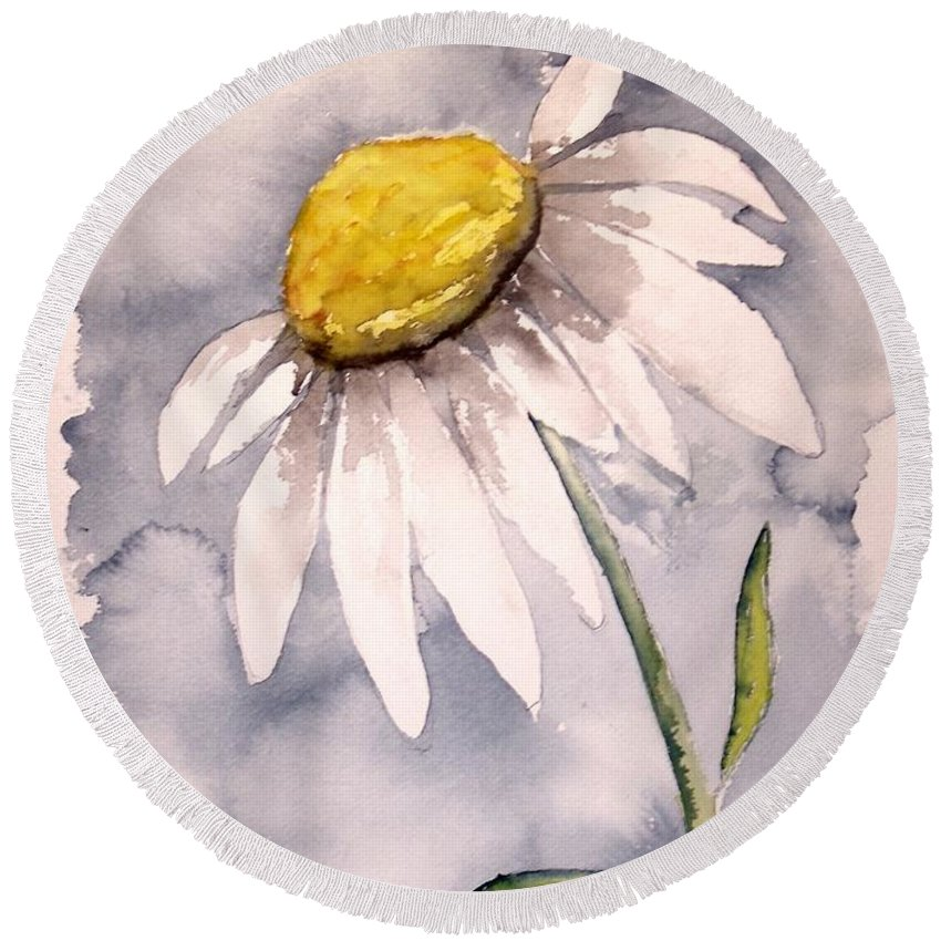 Daisy Round Beach Towel featuring the painting Daisy Modern Poster Print Fine Art by Derek Mccrea