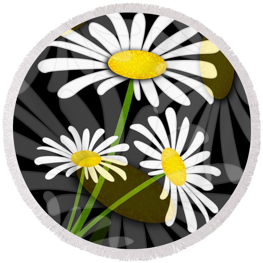 Flower Round Beach Towel featuring the digital art Daisy by Svetlana Sewell