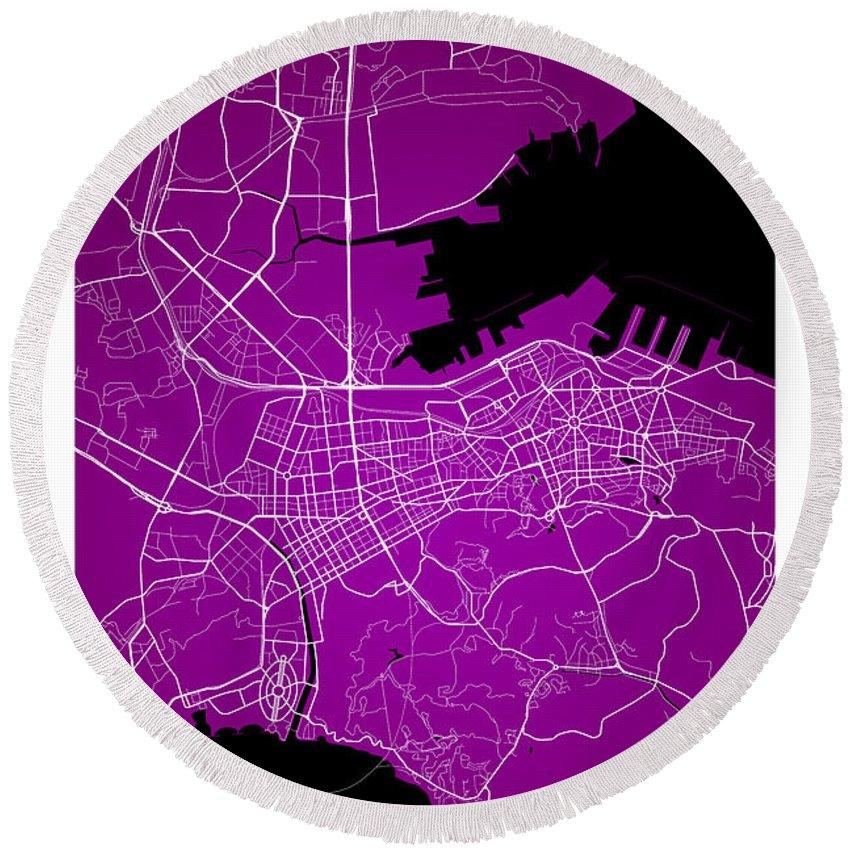 Road Map Round Beach Towel featuring the digital art Dalian Street Map - Dalian China Road Map Art On A Purple Backgro by Jurq Studio