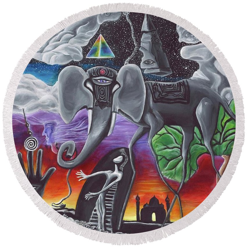 Elephant Round Beach Towel featuring the painting Dalinian Dreams On A Night In India by The Magic Man