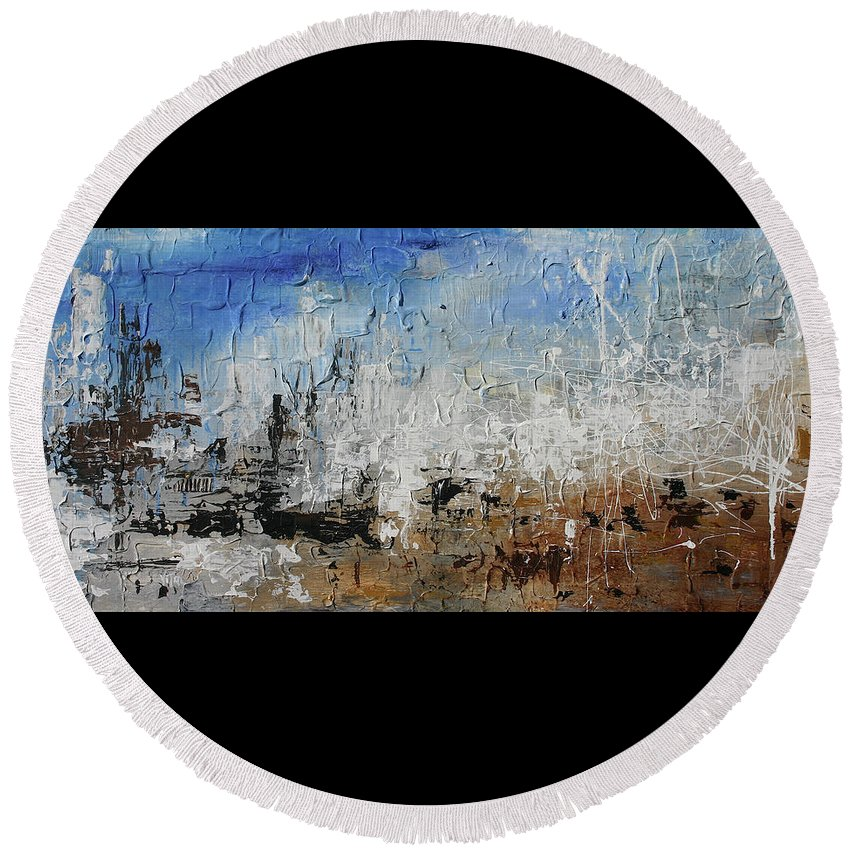 Abstract Round Beach Towel featuring the painting Dali's Barcelona by Germaine Fine Art