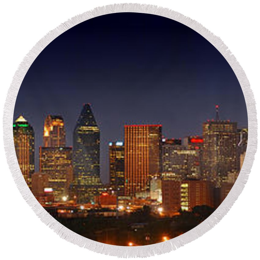 Dallas Skyline Night Round Beach Towel featuring the photograph Dallas Skyline At Dusk by Jon Holiday