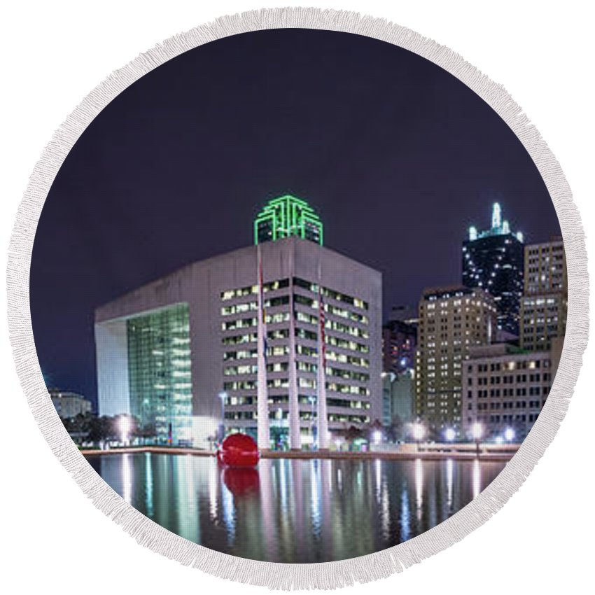 Dallas Round Beach Towel featuring the photograph Dallas Skyline From City Hall by Tod and Cynthia Grubbs