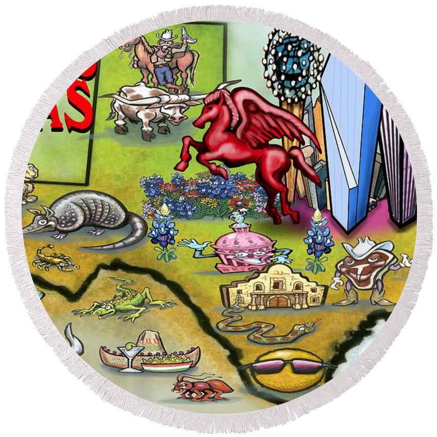 Dallas Round Beach Towel featuring the digital art Dallas Texas Cartoon Map by Kevin Middleton