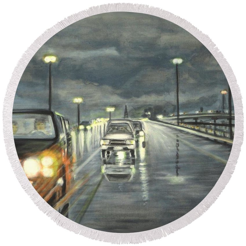 Dallas Round Beach Towel featuring the painting Dallas Traffic by Usha Shantharam