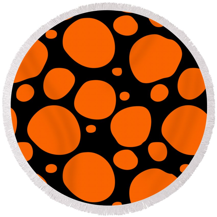 Pattern Round Beach Towel featuring the digital art Dalmatian Pattern With A Black Background 03-p0173 by Custom Home Fashions