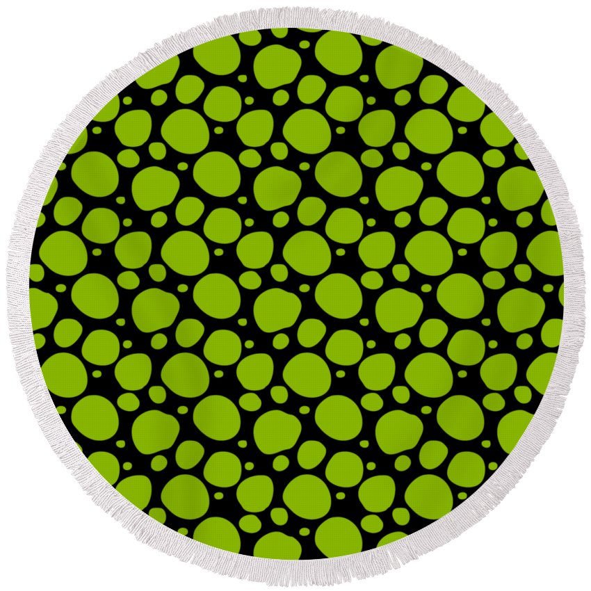 Pattern Round Beach Towel featuring the digital art Dalmatian Pattern With A Black Background 09-p0173 by Custom Home Fashions