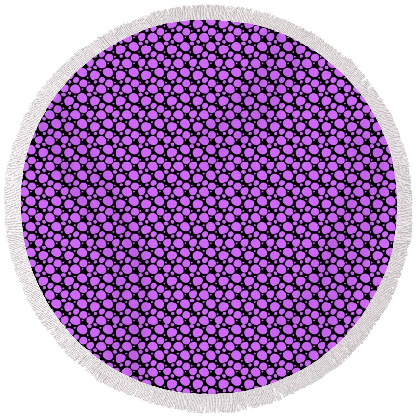 Pattern Round Beach Towel featuring the digital art Dalmatian Pattern With A Black Background 30-p0173 by Custom Home Fashions