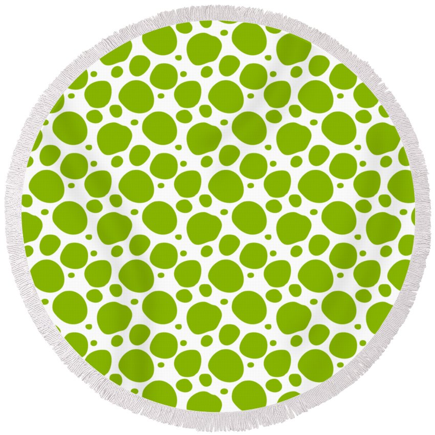 Pattern Round Beach Towel featuring the digital art Dalmatian Pattern With A White Background 09-p0173 by Custom Home Fashions