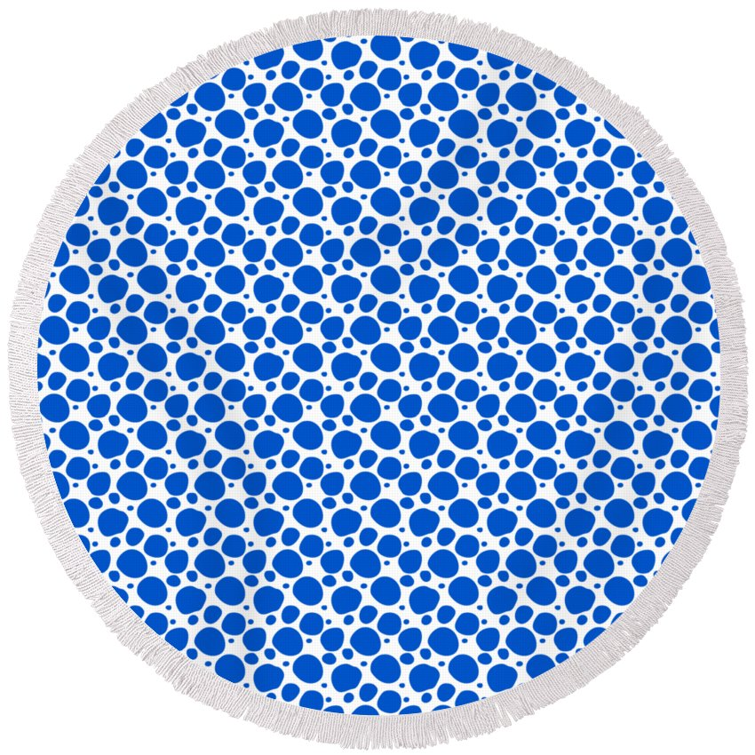 Pattern Round Beach Towel featuring the digital art Dalmatian Pattern With A White Background 18-p0173 by Custom Home Fashions