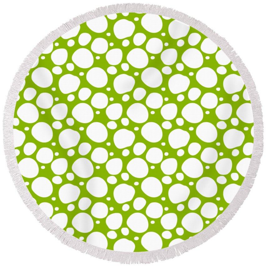 Pattern Round Beach Towel featuring the digital art Dalmatian White Pattern 09-p0173 by Custom Home Fashions