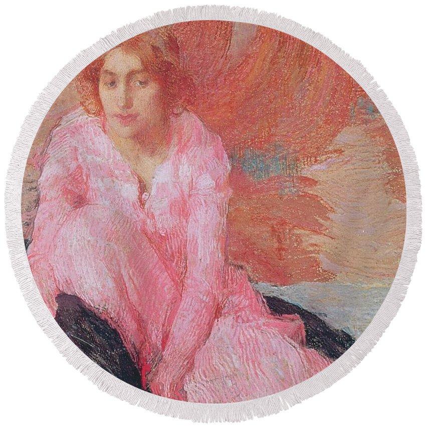Dame En Rose By Edmond-francois Aman-jean (1858-1936) Round Beach Towel featuring the painting Dame En Rose by Edmond Francois Aman Jean