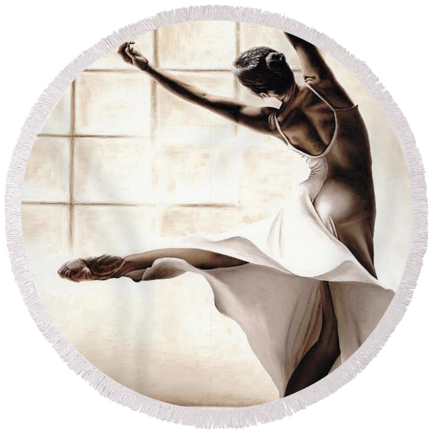 Dancer Round Beach Towel featuring the painting Dance Finesse by Richard Young