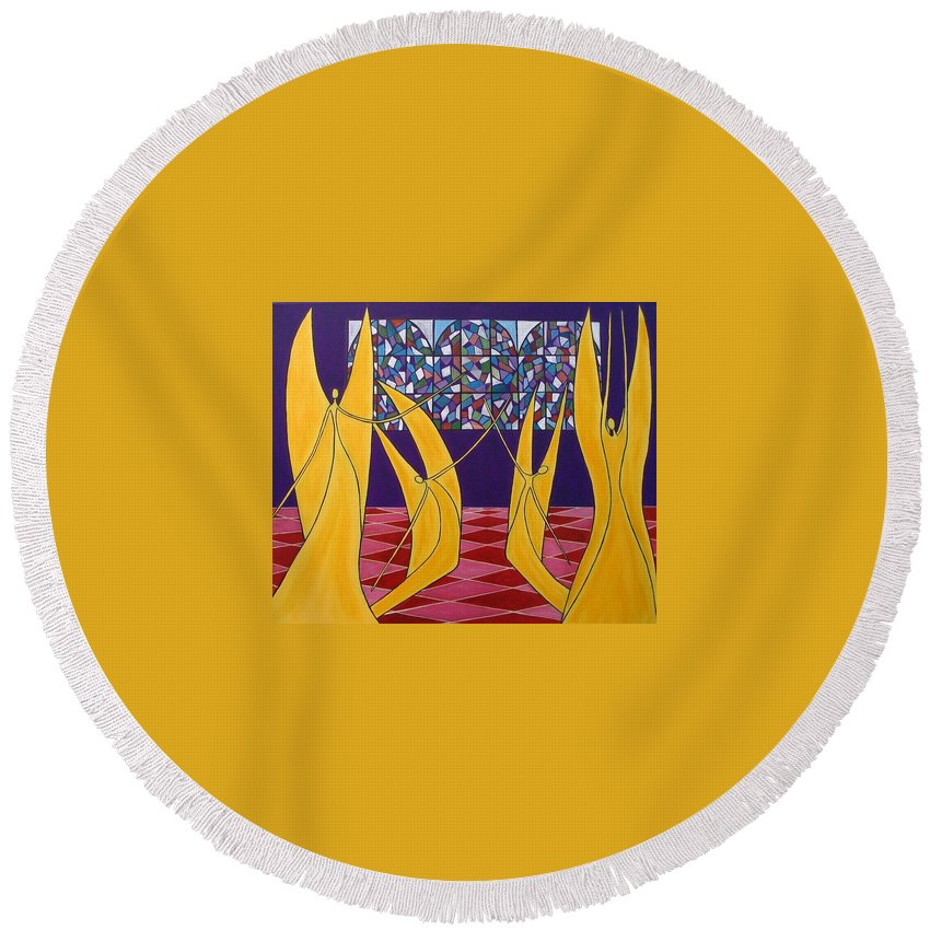 Dance Of Angels Round Beach Towel featuring the painting Dance Of Angels by Sandra Marie Adams