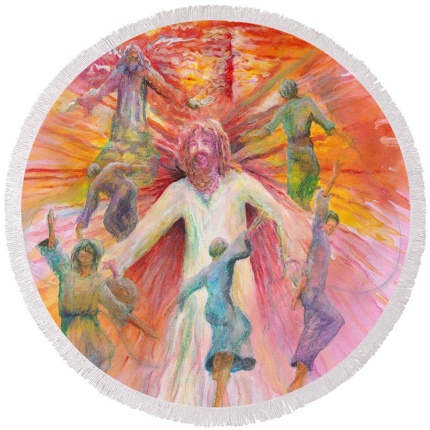 Jesus Round Beach Towel featuring the painting Dance of Freedom by Nadine Rippelmeyer