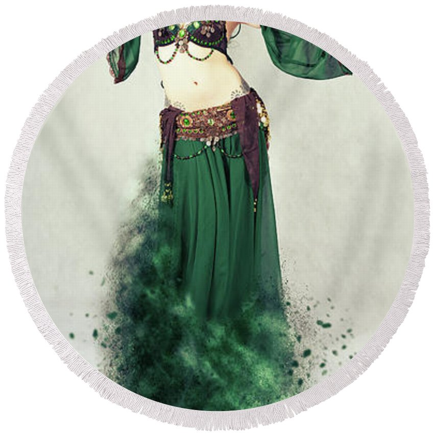Belly Dancer Round Beach Towels