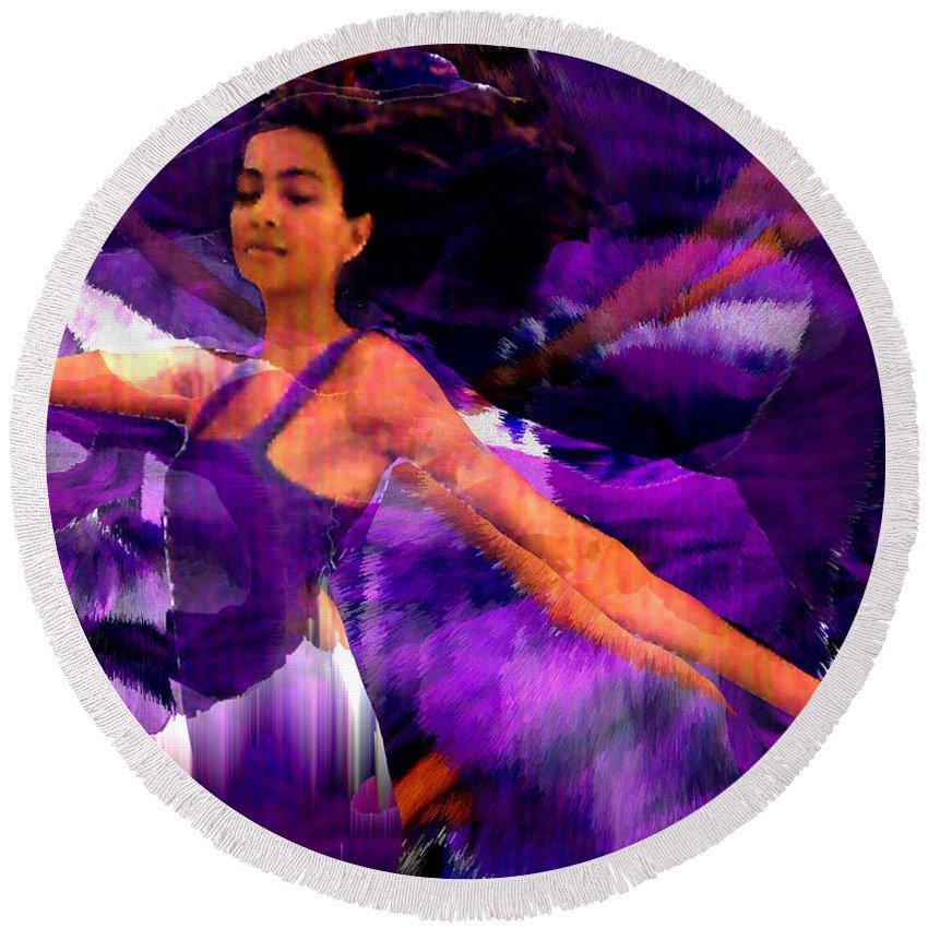 Mystical Round Beach Towel featuring the digital art Dance Of The Purple Veil by Seth Weaver