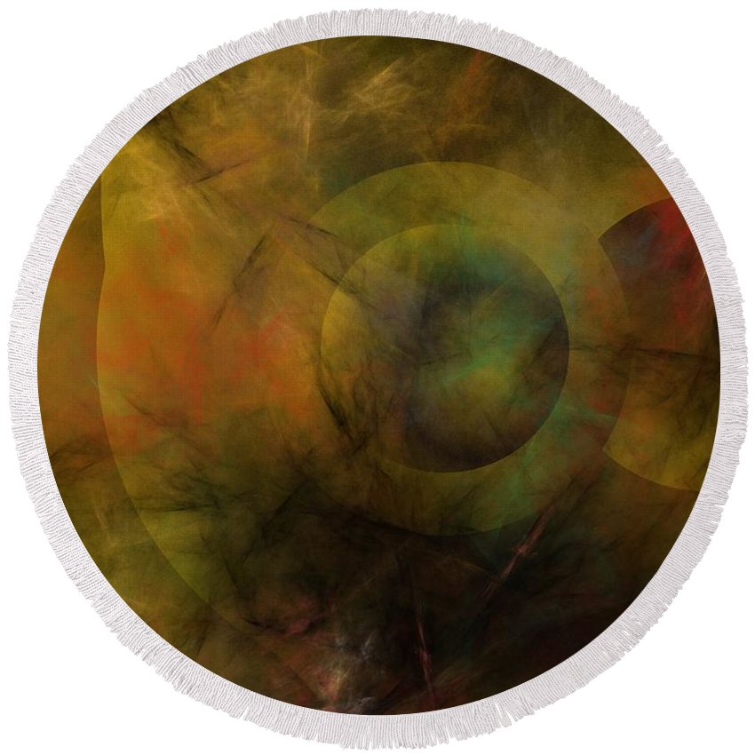 Fantasy Round Beach Towel featuring the digital art Dance Of The Spheres by David Lane