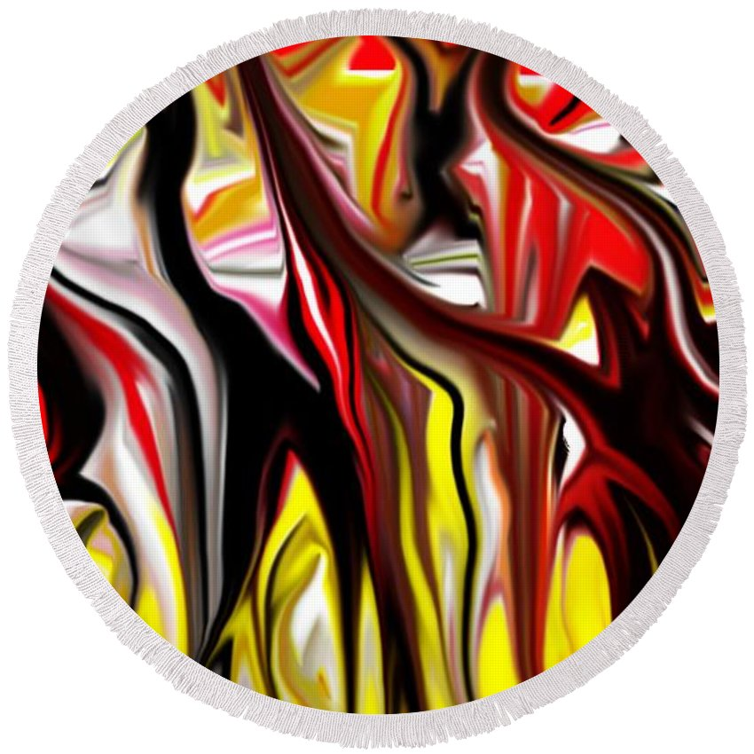 Abstract Round Beach Towel featuring the digital art Dance Of The Sugar Plum Faries by David Lane