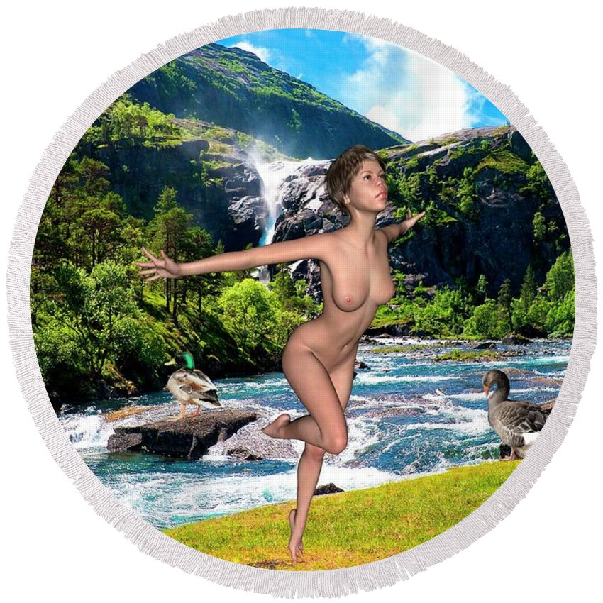 Modern Painting Round Beach Towel featuring the mixed media Dance To The Waterfall by Pemaro