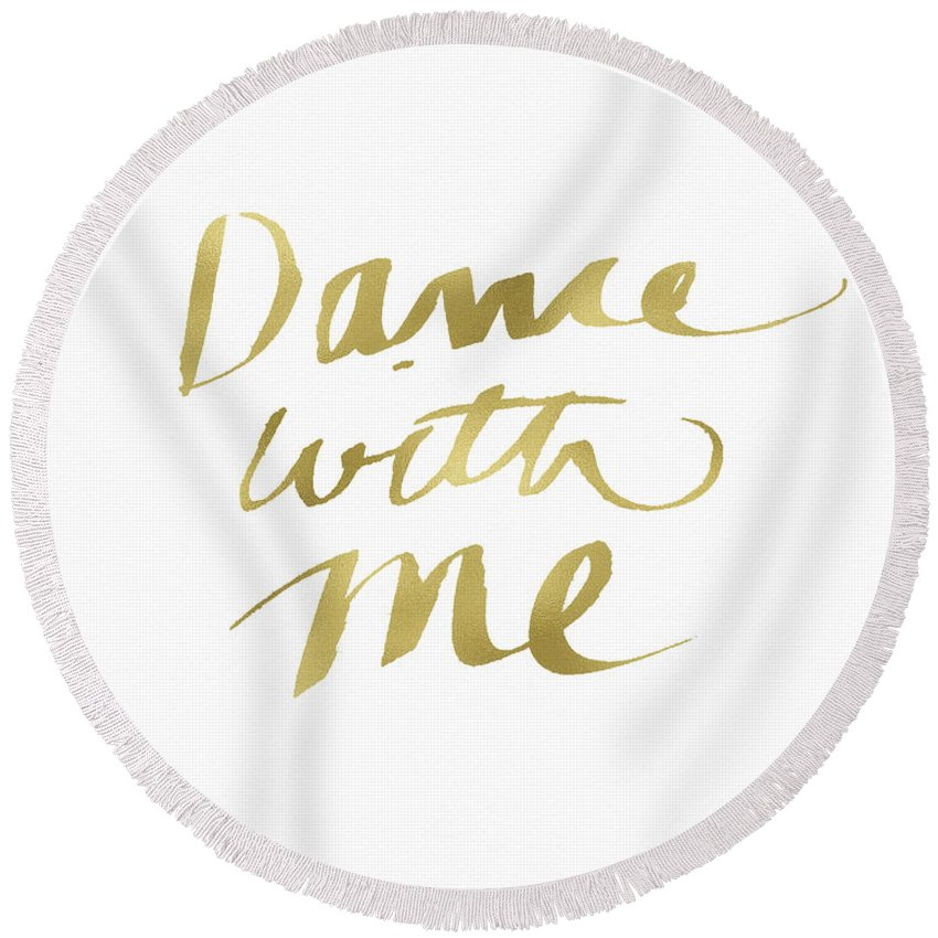 Dance Round Beach Towel featuring the painting Dance With Me Gold- Art by Linda Woods by Linda Woods