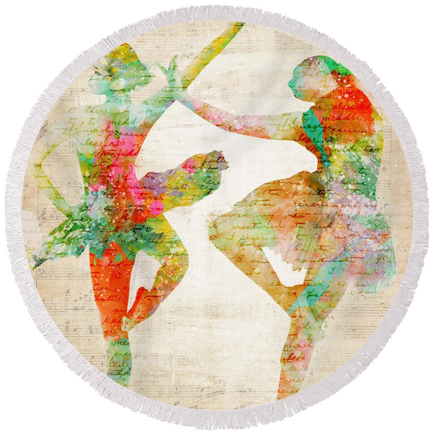 Ballet Round Beach Towel featuring the digital art Dance With Me by Nikki Smith