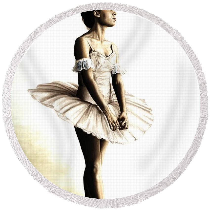 Ballet Round Beach Towel featuring the painting Dancer At Peace by Richard Young