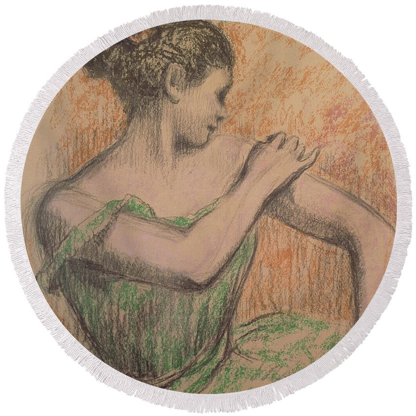 Dancer Round Beach Towel featuring the pastel Dancer by Degas