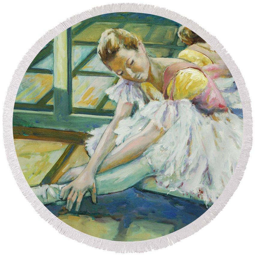 Glass Round Beach Towel featuring the painting Dancer by Rick Nederlof