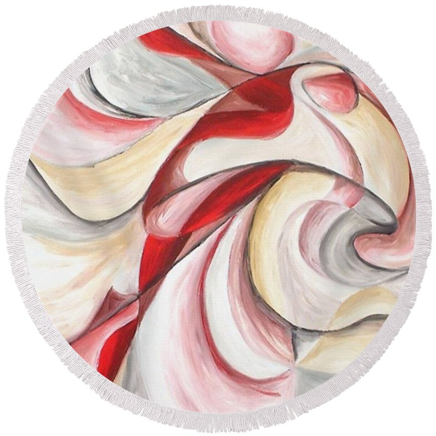 Abstract Round Beach Towel featuring the painting Dancer by Rowena Finn