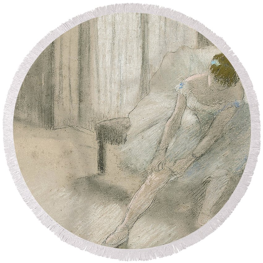 Degas Round Beach Towel featuring the pastel Dancer Seated, Readjusting Her Stocking by Edgar Degas