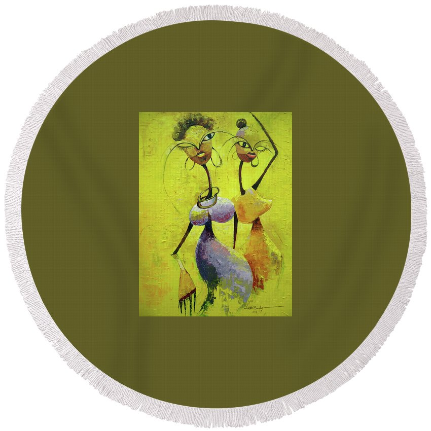 Figure Round Beach Towel featuring the painting Dancers by Lawani Sunday