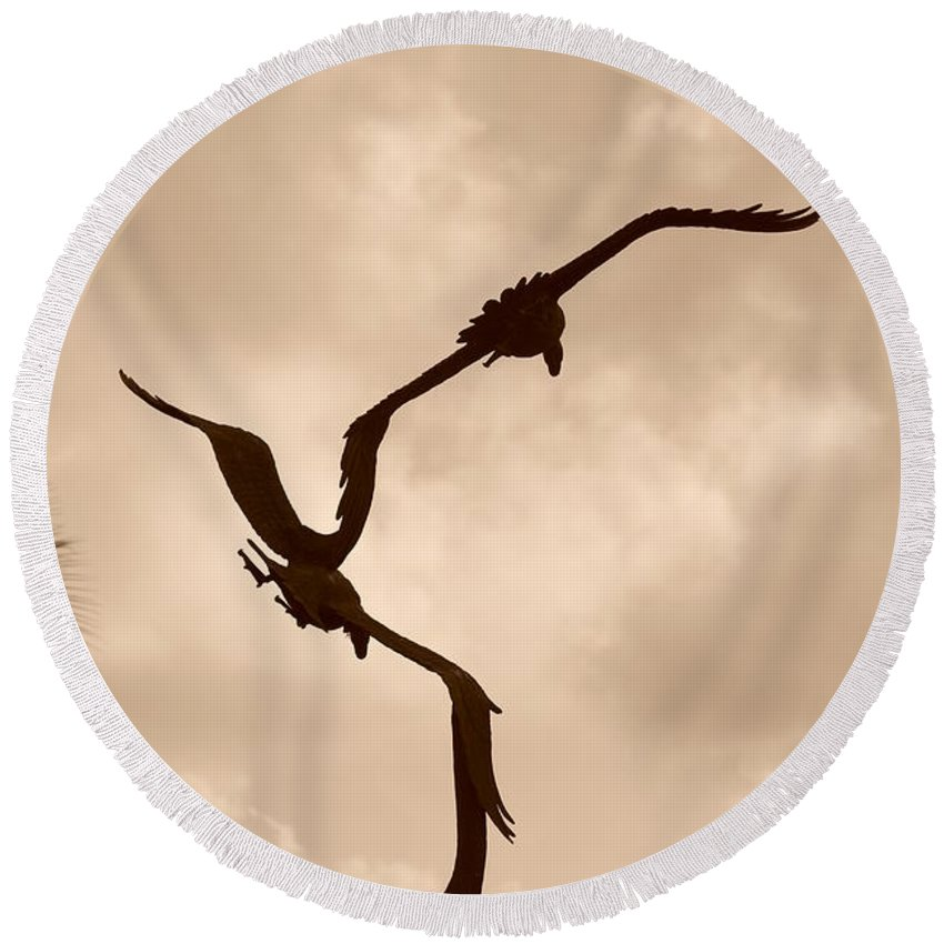 Sepia Round Beach Towel featuring the photograph Dancing Birds by Rob Hans