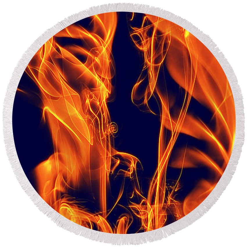 Clay Round Beach Towel featuring the digital art Dancing Fire I by Clayton Bruster