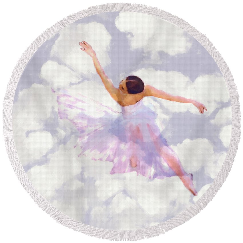 Ballet Dancer Dancing Female Woman Girl Romance Romantic Ballerina Round Beach Towel featuring the painting Dancing In The Clouds by Steve K